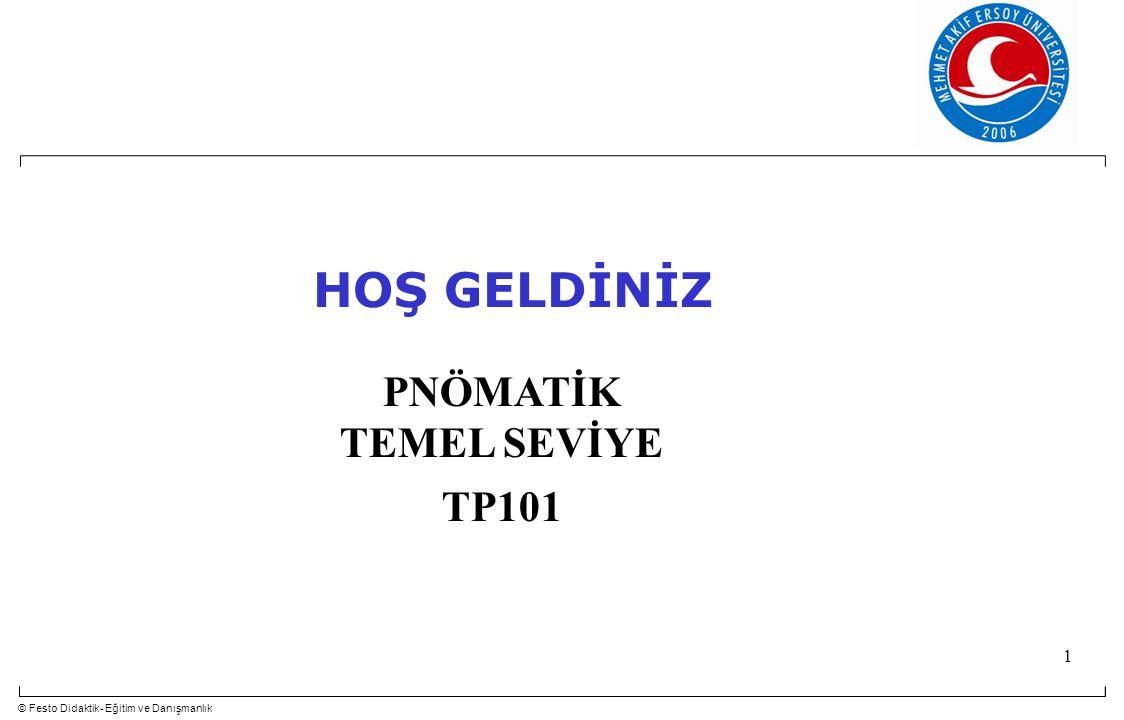 © Festo Didaktik- Eğitim ve Danışmanlık 1 PNÖMATİK TEMEL SEVİYE TP101 HOŞ GELDİNİZ