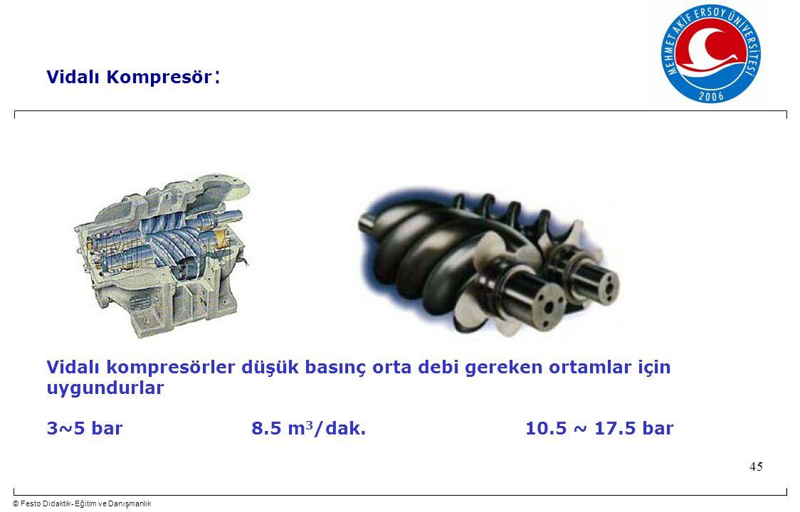© Festo Didaktik- Eğitim ve Danışmanlık 45 Vidalı Kompresör : Vidalı kompresörler düşük basınç orta debi gereken ortamlar için uygundurlar 3~5 bar 8.5 m 3 /dak.10.5 ~ 17.5 bar