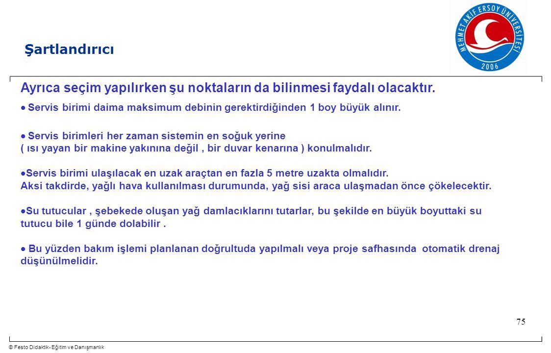 © Festo Didaktik- Eğitim ve Danışmanlık 75 Ayrıca seçim yapılırken şu noktaların da bilinmesi faydalı olacaktır.