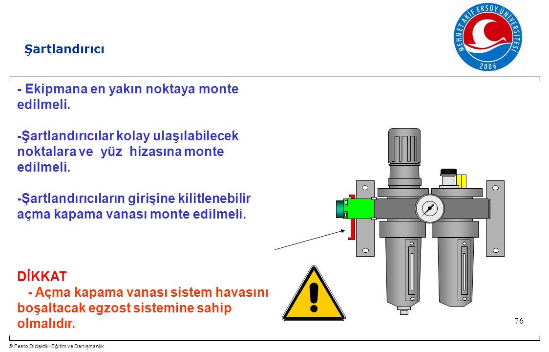 © Festo Didaktik- Eğitim ve Danışmanlık 76 Şartlandırıcı - Ekipmana en yakın noktaya monte edilmeli. -Şartlandırıcılar kolay ulaşılabilecek noktalara