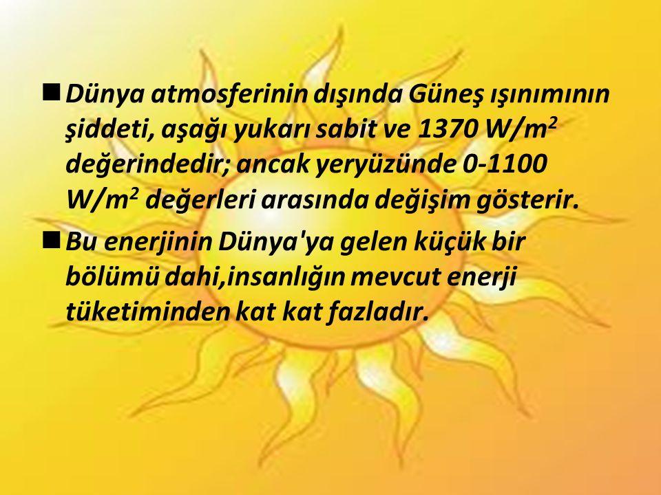  Dünya atmosferinin dışında Güneş ışınımının şiddeti, aşağı yukarı sabit ve 1370 W/m 2 değerindedir; ancak yeryüzünde 0-1100 W/m 2 değerleri arasında