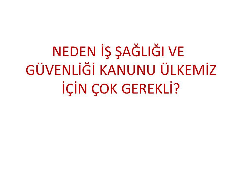 Tüm Türkiye 2012 yılı SGK İstatistikleri • İş kazası Sayısı: 62903 • İş Kazası Ölüm:1444 • Meslek Hastalığı:533 • Meslek Hastalığı ölüm:10 • Sürekli iş göremezlik: 2085