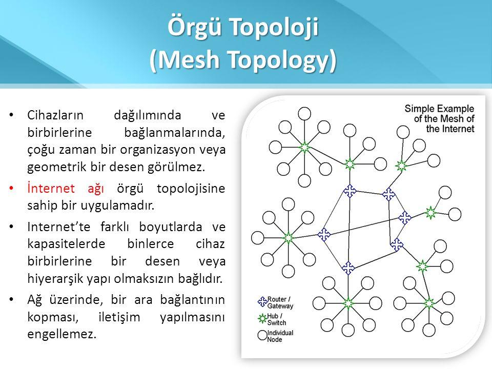 Örgü Topoloji (Mesh Topology) • Cihazların dağılımında ve birbirlerine bağlanmalarında, çoğu zaman bir organizasyon veya geometrik bir desen görülmez.
