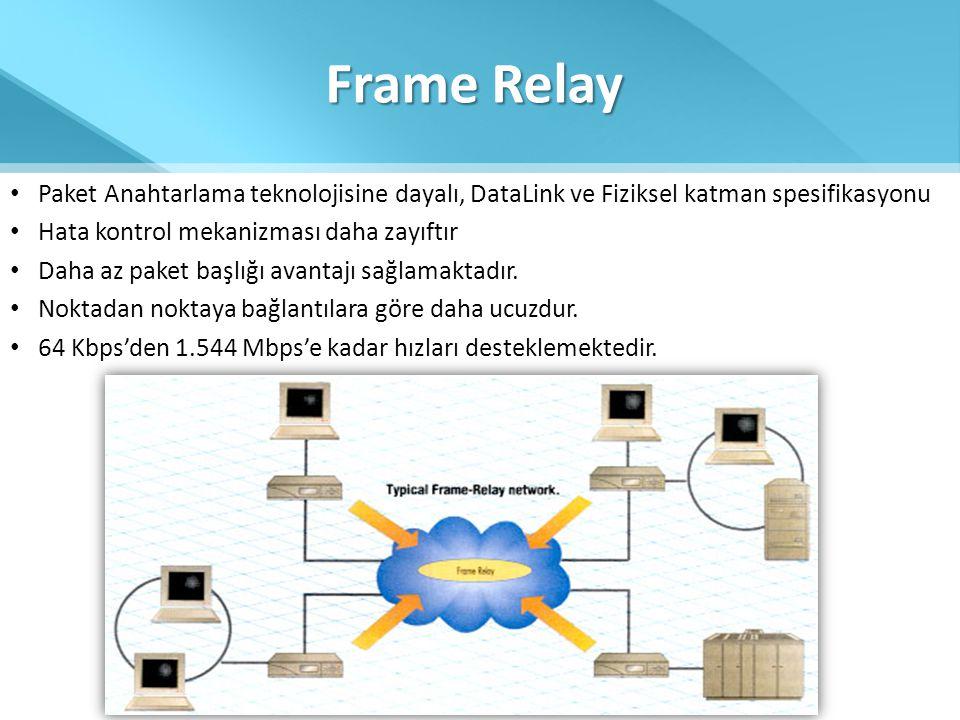 Frame Relay • Paket Anahtarlama teknolojisine dayalı, DataLink ve Fiziksel katman spesifikasyonu • Hata kontrol mekanizması daha zayıftır • Daha az pa