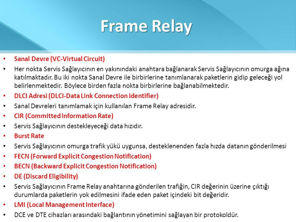 Frame Relay • Sanal Devre (VC-Virtual Circuit) • Her nokta Servis Sağlayıcının en yakınındaki anahtara bağlanarak Servis Sağlayıcının omurga ağına kat