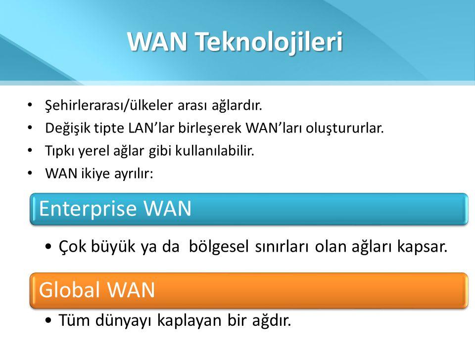 WAN Teknolojileri • Şehirlerarası/ülkeler arası ağlardır. • Değişik tipte LAN'lar birleşerek WAN'ları oluştururlar. • Tıpkı yerel ağlar gibi kullanıla
