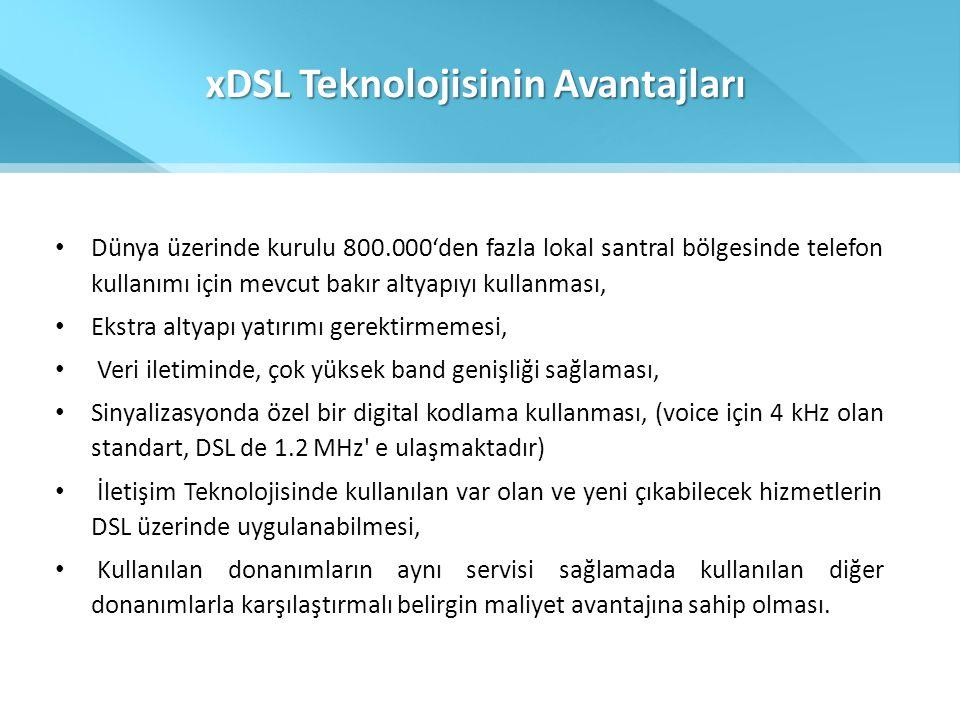 xDSL Teknolojisinin Avantajları • Dünya üzerinde kurulu 800.000'den fazla lokal santral bölgesinde telefon kullanımı için mevcut bakır altyapıyı kulla