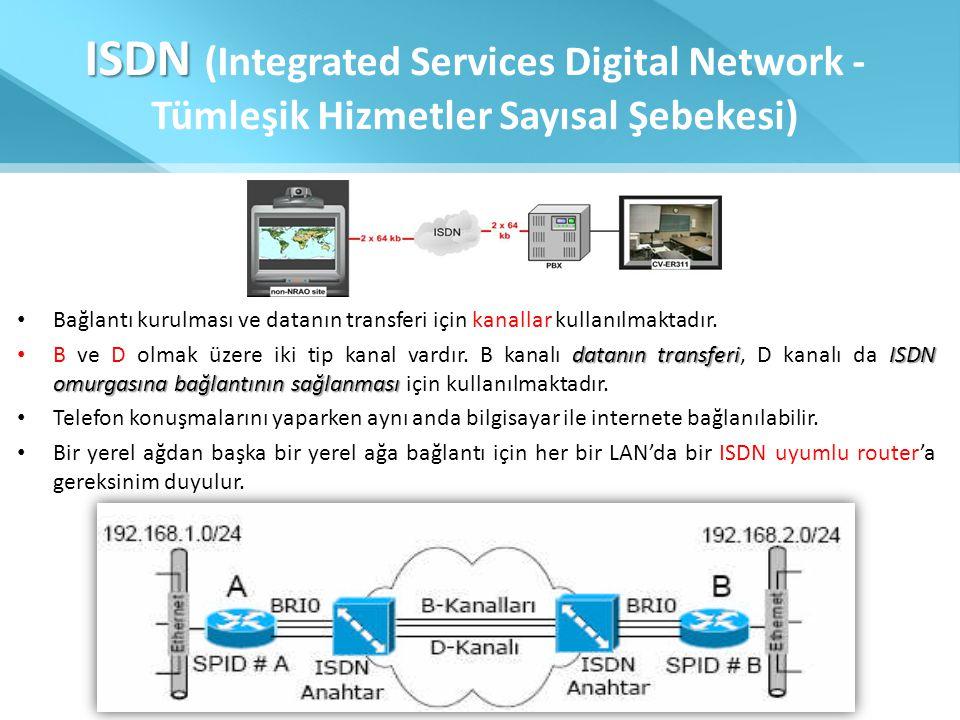 ISDN ISDN (Integrated Services Digital Network - Tümleşik Hizmetler Sayısal Şebekesi) • Bağlantı kurulması ve datanın transferi için kanallar kullanıl