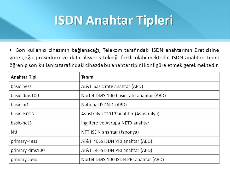 ISDN Anahtar Tipleri • Son kullanıcı cihazının bağlanacağı, Telekom tarafındaki ISDN anahtarının üreticisine göre çağrı prosedürü ve data alışveriş te