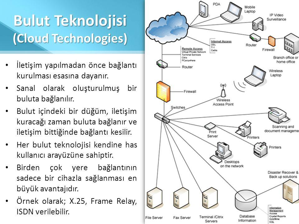 Bulut Teknolojisi (Cloud Technologies) • İletişim yapılmadan önce bağlantı kurulması esasına dayanır. • Sanal olarak oluşturulmuş bir buluta bağlanılı