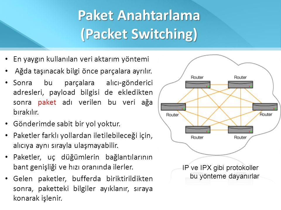 Paket Anahtarlama (Packet Switching) • En yaygın kullanılan veri aktarım yöntemi • Ağda taşınacak bilgi önce parçalara ayrılır. • Sonra bu parçalara a