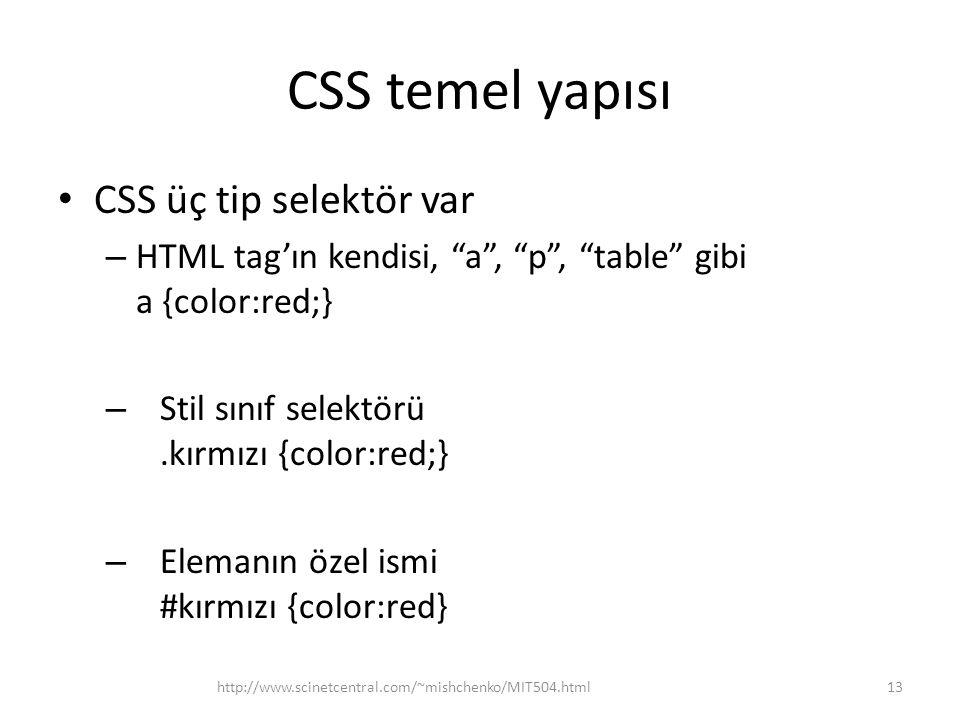 "CSS temel yapısı • CSS üç tip selektör var – HTML tag'ın kendisi, ""a"", ""p"", ""table"" gibi a {color:red;} – Stil sınıf selektörü.kırmızı {color:red;} –"