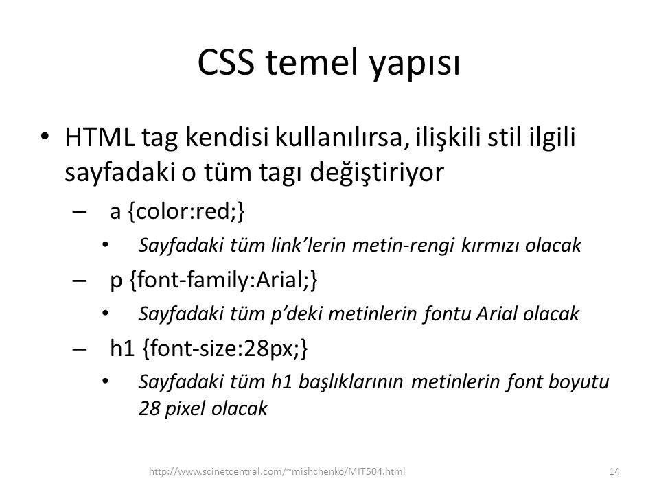 CSS temel yapısı • HTML tag kendisi kullanılırsa, ilişkili stil ilgili sayfadaki o tüm tagı değiştiriyor – a {color:red;} • Sayfadaki tüm link'lerin m