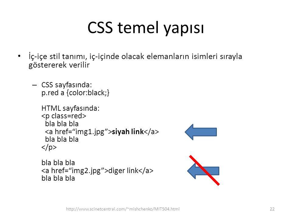 CSS temel yapısı • İç-içe stil tanımı, iç-içinde olacak elemanların isimleri sırayla göstererek verilir – CSS sayfasında: p.red a {color:black;} HTML