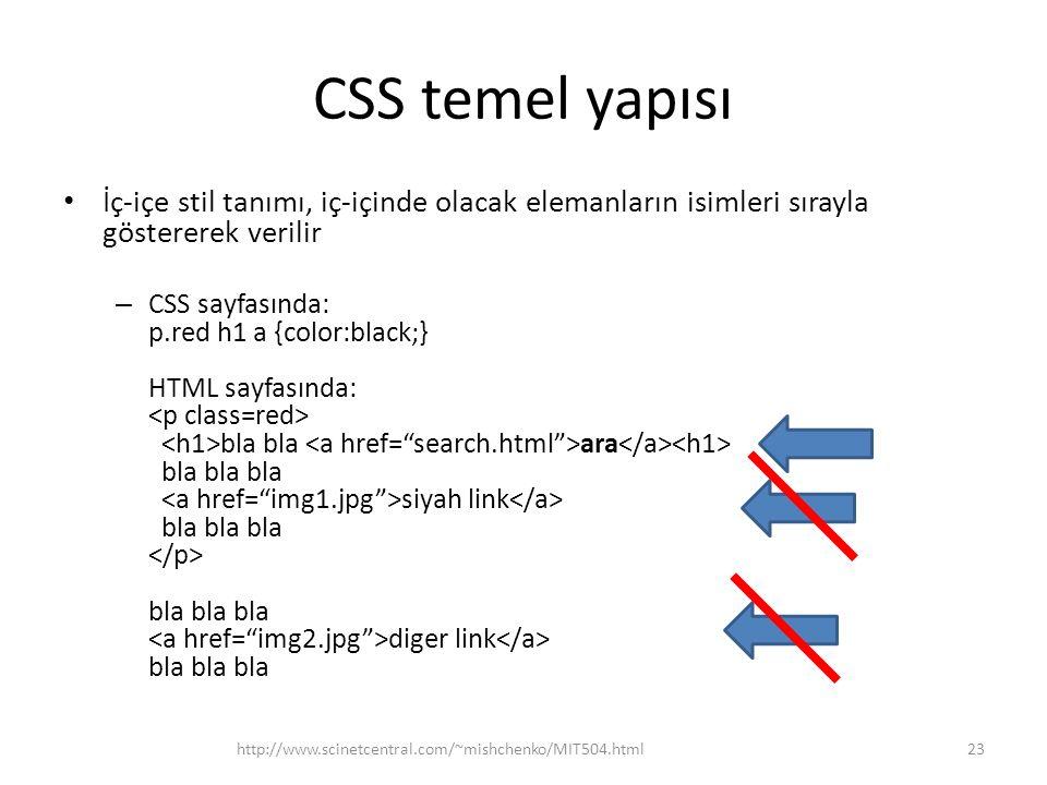 CSS temel yapısı • İç-içe stil tanımı, iç-içinde olacak elemanların isimleri sırayla göstererek verilir – CSS sayfasında: p.red h1 a {color:black;} HT