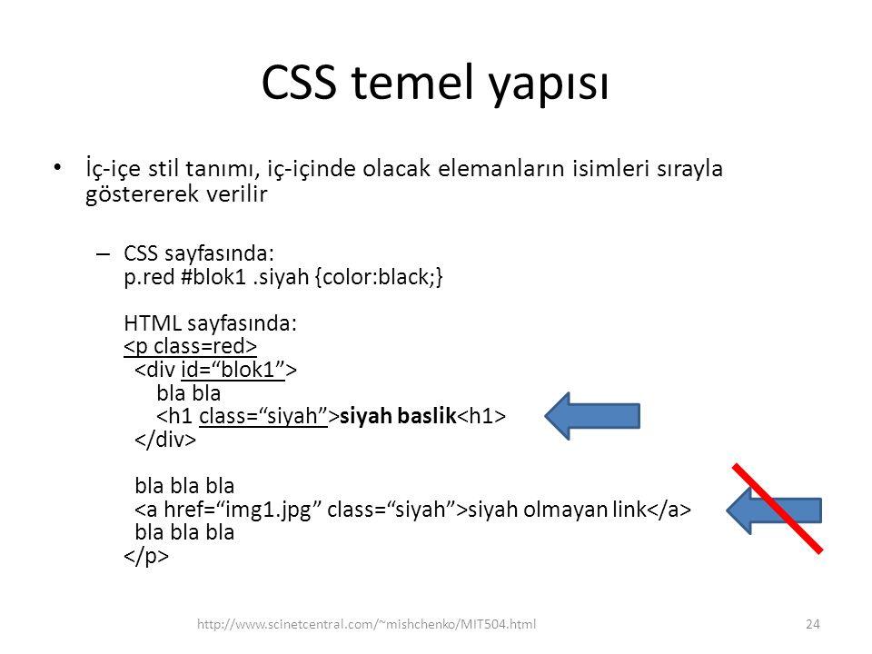 CSS temel yapısı • İç-içe stil tanımı, iç-içinde olacak elemanların isimleri sırayla göstererek verilir – CSS sayfasında: p.red #blok1.siyah {color:bl