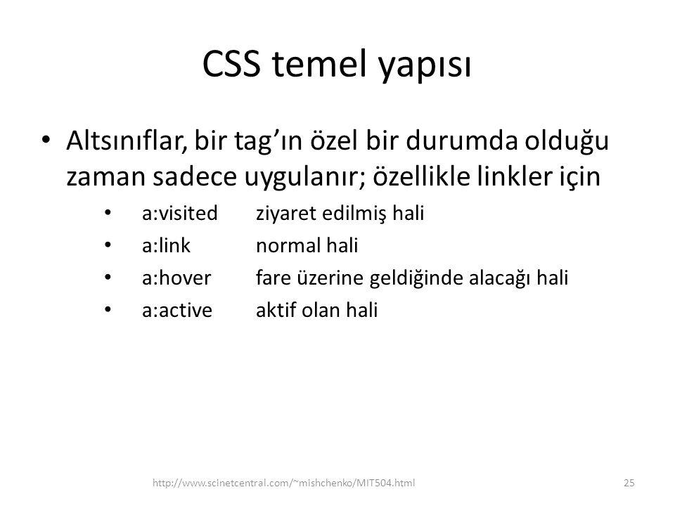 CSS temel yapısı • Altsınıflar, bir tag'ın özel bir durumda olduğu zaman sadece uygulanır; özellikle linkler için • a:visited ziyaret edilmiş hali • a