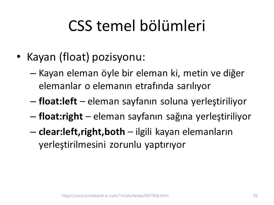 CSS temel bölümleri • Kayan (float) pozisyonu: – Kayan eleman öyle bir eleman ki, metin ve diğer elemanlar o elemanın etrafında sarılıyor – float:left