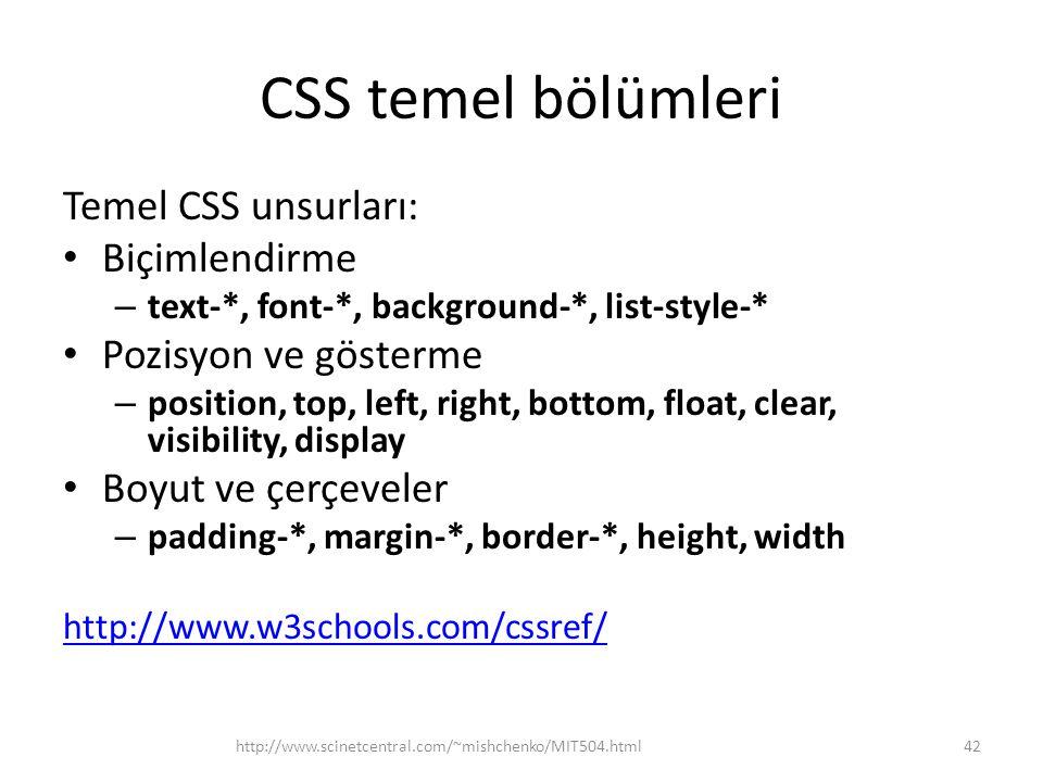 CSS temel bölümleri Temel CSS unsurları: • Biçimlendirme – text-*, font-*, background-*, list-style-* • Pozisyon ve gösterme – position, top, left, ri
