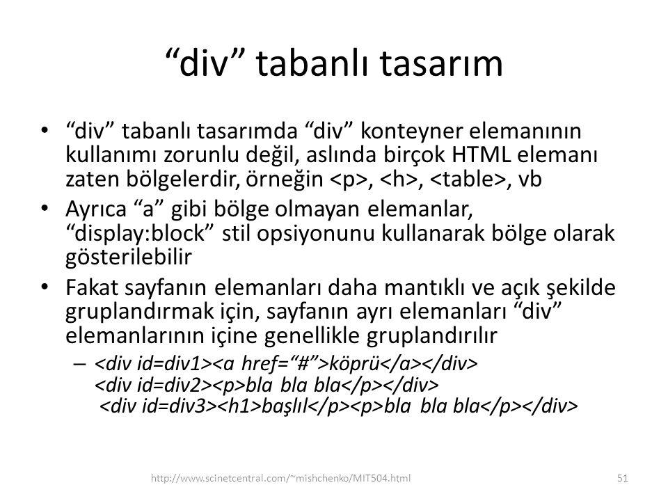 """""""div"""" tabanlı tasarım • """"div"""" tabanlı tasarımda """"div"""" konteyner elemanının kullanımı zorunlu değil, aslında birçok HTML elemanı zaten bölgelerdir, örn"""