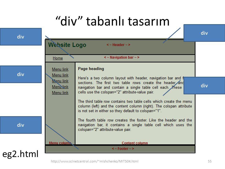 """""""div"""" tabanlı tasarım http://www.scinetcentral.com/~mishchenko/MIT504.html55 div eg2.html div"""