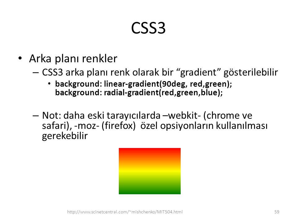 """CSS3 • Arka planı renkler – CSS3 arka planı renk olarak bir """"gradient"""" gösterilebilir • background: linear-gradient(90deg, red,green); background: rad"""