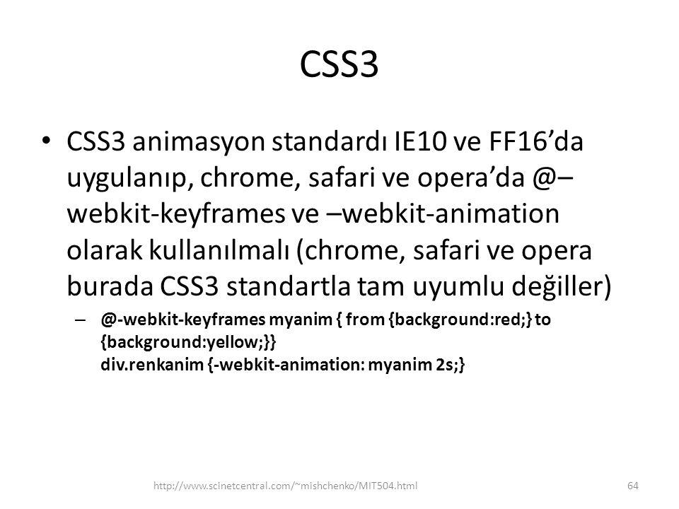 CSS3 • CSS3 animasyon standardı IE10 ve FF16'da uygulanıp, chrome, safari ve opera'da @– webkit-keyframes ve –webkit-animation olarak kullanılmalı (ch