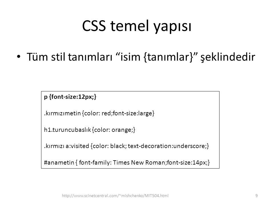 """CSS temel yapısı • Tüm stil tanımları """"isim {tanımlar}"""" şeklindedir http://www.scinetcentral.com/~mishchenko/MIT504.html9 p {font-size:12px;}.kırmızım"""