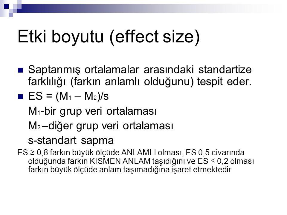 Etki boyutu (effect size)  Saptanmış ortalamalar arasındaki standartize farklılığı (farkın anlamlı olduğunu) tespit eder.  ES = (M 1 – M 2 )/s M 1 -