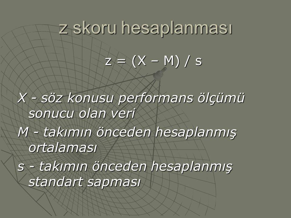 z skoru hesaplanması z = (X – M) / s X - söz konusu performans ölçümü sonucu olan veri M - takımın önceden hesaplanmış ortalaması s - takımın önceden