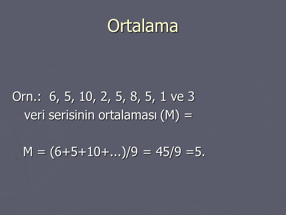 Ortalama Orn.: 6, 5, 10, 2, 5, 8, 5, 1 ve 3 veri serisinin ortalaması (M) = veri serisinin ortalaması (M) = M = (6+5+10+...)/9 = 45/9 =5.