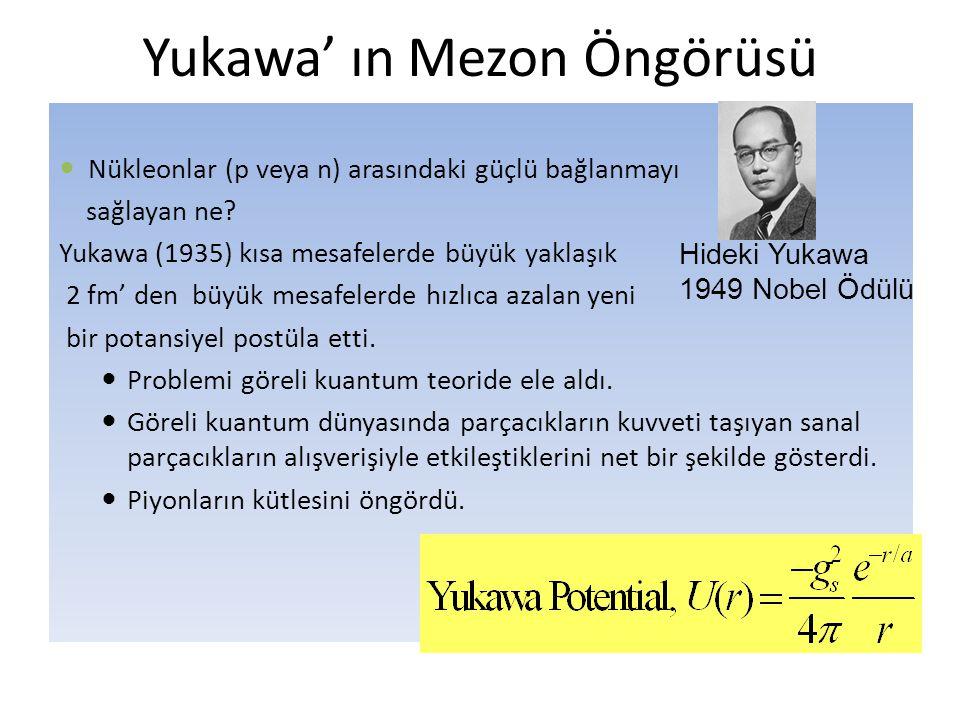 Yukawa' ın Mezon Öngörüsü  Nükleonlar (p veya n) arasındaki güçlü bağlanmayı sağlayan ne? Yukawa (1935) kısa mesafelerde büyük yaklaşık 2 fm' den büy