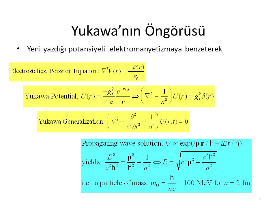 Pionlar • Yukawa' nın güçlü kuvvet teorisi mezon adı verilen orta büyüklükte kütleye sahip bir bozon öngörür.