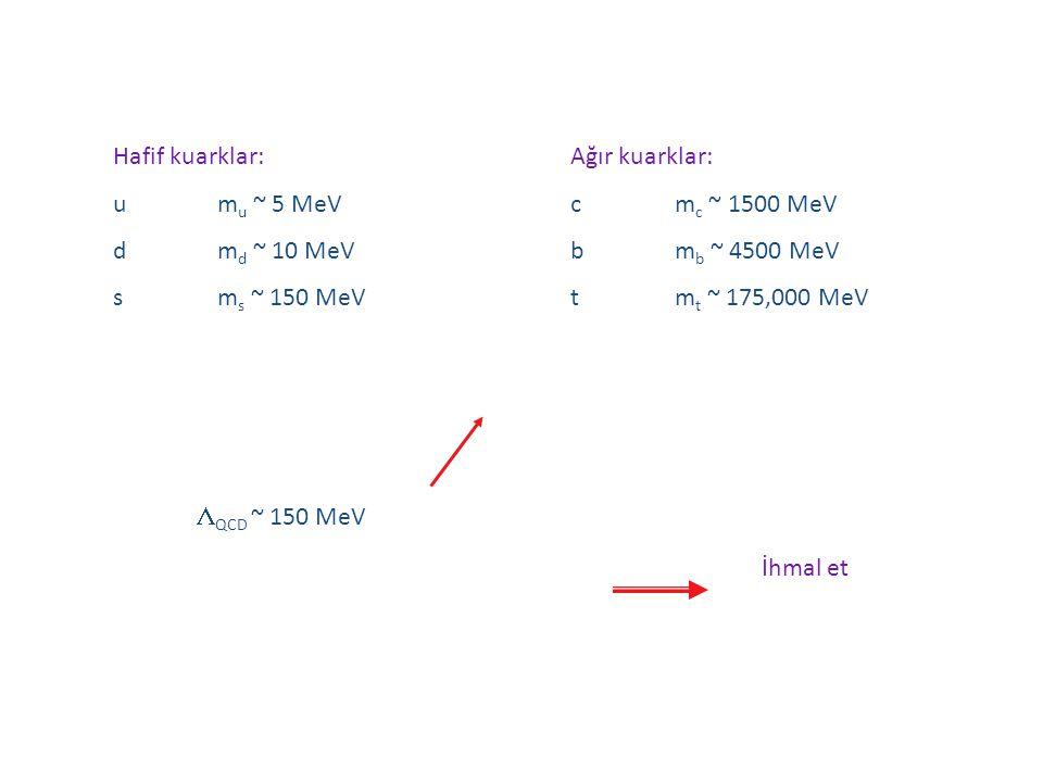 Hafif kuarklar: um u ~ 5 MeV dm d ~ 10 MeV sm s ~ 150 MeV Ağır kuarklar: cm c ~ 1500 MeV bm b ~ 4500 MeV tm t ~ 175,000 MeV  QCD ~ 150 MeV İhmal et