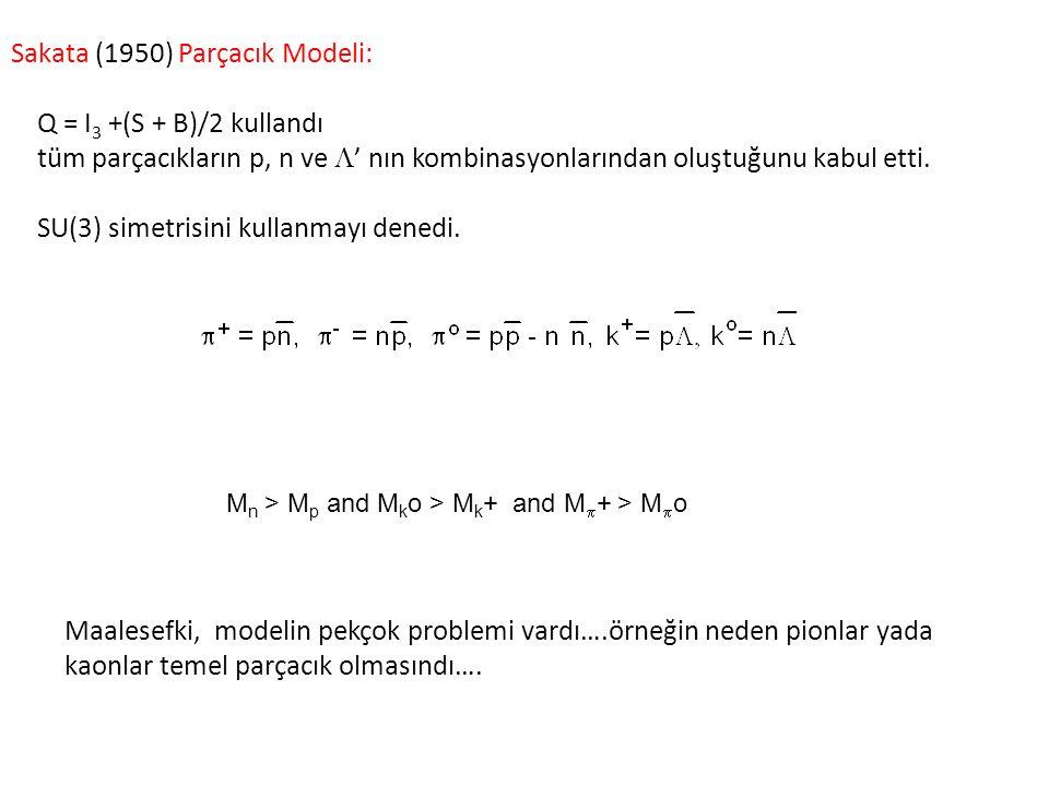 Sakata (1950) Parçacık Modeli: Q = I 3 +(S + B)/2 kullandı tüm parçacıkların p, n ve  ' nın kombinasyonlarından oluştuğunu kabul etti. SU(3) simetris