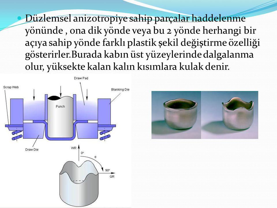  Düzlemsel anizotropiye sahip parçalar haddelenme yönünde, ona dik yönde veya bu 2 yönde herhangi bir açıya sahip yönde farklı plastik şekil değiştir