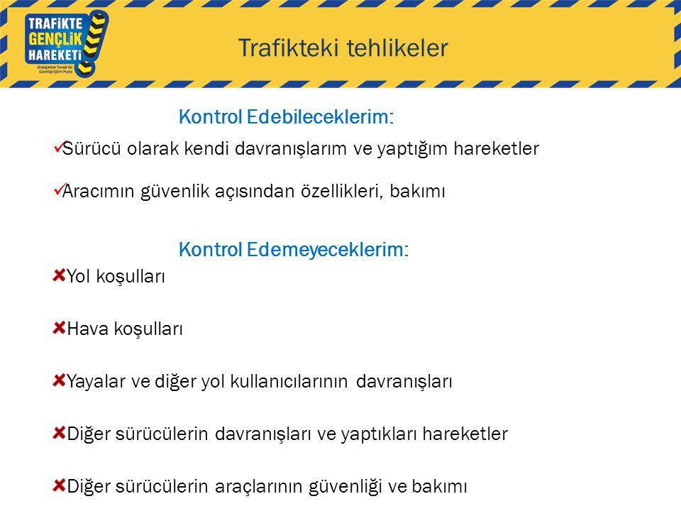 Trafikteki tehlikeler Kontrol Edebileceklerim:  Sürücü olarak kendi davranışlarım ve yaptığım hareketler  Aracımın güvenlik açısından özellikleri, b