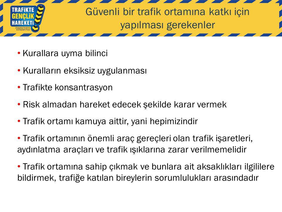 Güvenli bir trafik ortamına katkı için yapılması gerekenler • Kurallara uyma bilinci • Kuralların eksiksiz uygulanması • Trafikte konsantrasyon • Risk