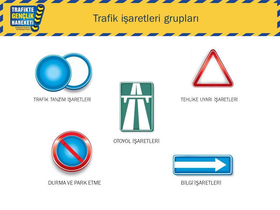 Trafik işaretleri grupları TRAFİK TANZİM İŞARETLERİTEHLİKE UYARI İŞARETLERİ DURMA VE PARK ETME OTOYOL İŞARETLERİ BİLGİ İŞARETLERİ