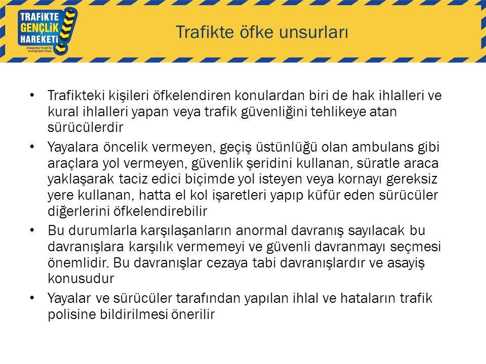 Trafikte öfke unsurları • Trafikteki kişileri öfkelendiren konulardan biri de hak ihlalleri ve kural ihlalleri yapan veya trafik güvenliğini tehlikeye