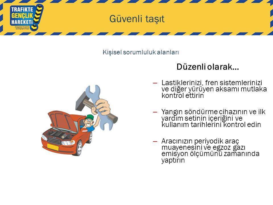 Düzenli olarak... Güvenli taşıt – Lastiklerinizi, fren sistemlerinizi ve diğer yürüyen aksamı mutlaka kontrol ettirin – Yangın söndürme cihazının ve i