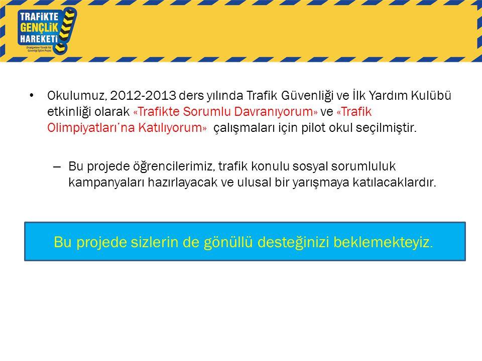 • Okulumuz, 2012-2013 ders yılında Trafik Güvenliği ve İlk Yardım Kulübü etkinliği olarak «Trafikte Sorumlu Davranıyorum» ve «Trafik Olimpiyatları'na