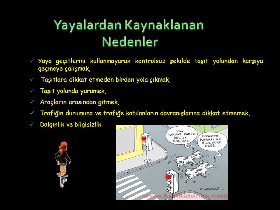  Yaya geçitlerini kullanmayarak kontrolsüz şekilde taşıt yolundan karşıya geçmeye çalışmak,  Taşıtlara dikkat etmeden birden yola çıkmak,  Taşıt yo