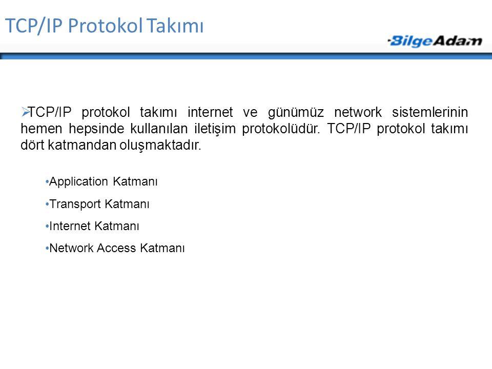 TCP/IP Protokol Takımı  TCP/IP protokol takımı internet ve günümüz network sistemlerinin hemen hepsinde kullanılan iletişim protokolüdür. TCP/IP prot