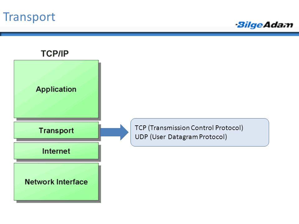 Transport TCP (Transmission Control Protocol) UDP (User Datagram Protocol)