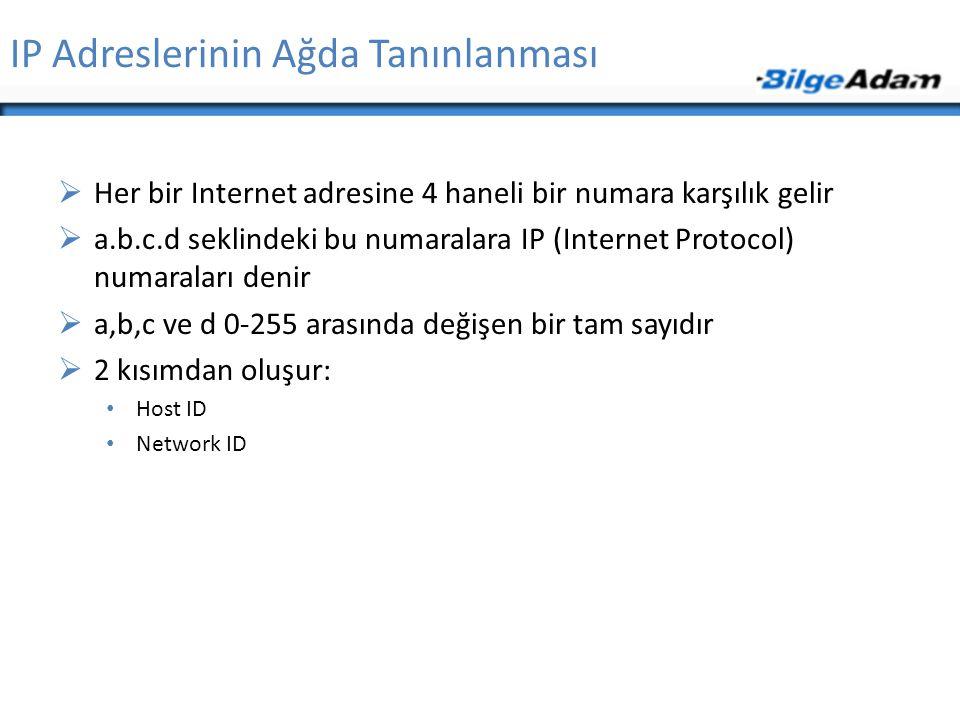 IP Adreslerinin Ağda Tanınlanması  Her bir Internet adresine 4 haneli bir numara karşılık gelir  a.b.c.d seklindeki bu numaralara IP (Internet Proto