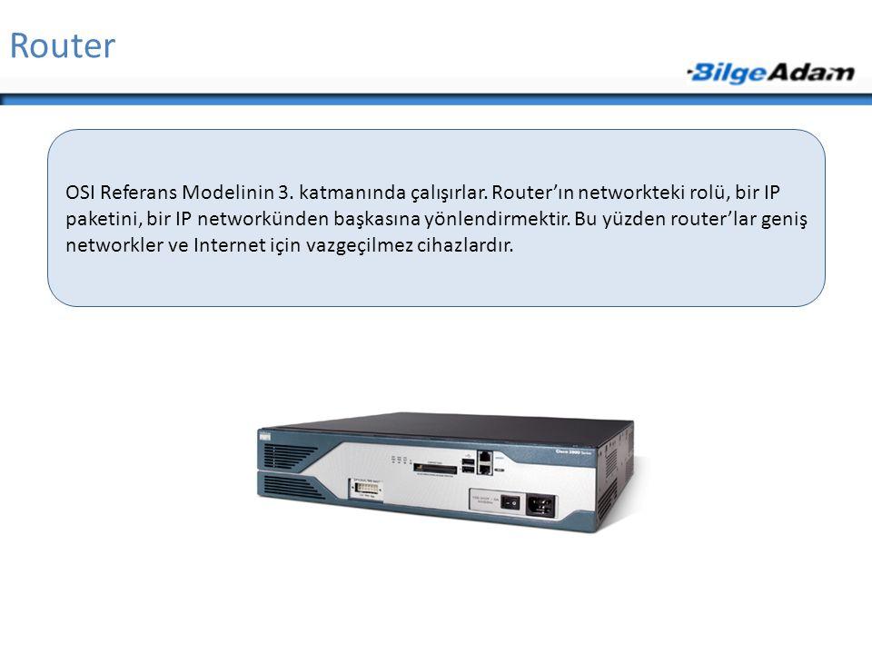 Router OSI Referans Modelinin 3. katmanında çalışırlar. Router'ın networkteki rolü, bir IP paketini, bir IP networkünden başkasına yönlendirmektir. Bu