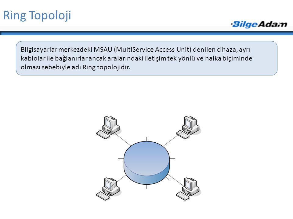 Ring Topoloji Bilgisayarlar merkezdeki MSAU (MultiService Access Unit) denilen cihaza, ayrı kablolar ile bağlanırlar ancak aralarındaki iletişim tek y