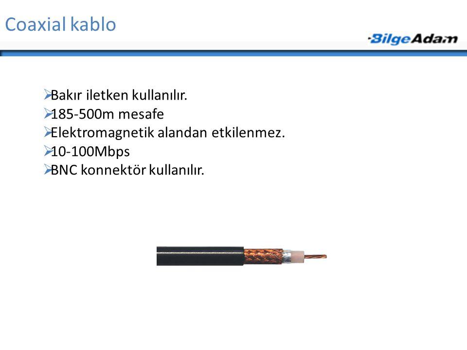 Coaxial kablo  Bakır iletken kullanılır.  185-500m mesafe  Elektromagnetik alandan etkilenmez.  10-100Mbps  BNC konnektör kullanılır.