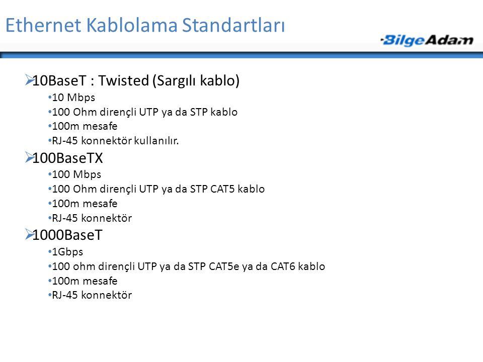 Ethernet Kablolama Standartları  10BaseT : Twisted (Sargılı kablo) • 10 Mbps • 100 Ohm dirençli UTP ya da STP kablo • 100m mesafe • RJ-45 konnektör k